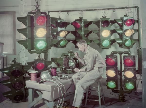 Nat Geo Found J. BAYLOR ROBERTS Traffic-lights-are-made-in-Shreveport-Louisiana-and-sent-around-the-U.S.-and-abroad-December-1947.